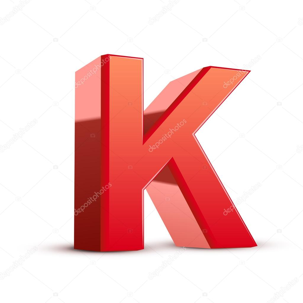 3d red letter K — Stock Vector © kchungtw #41184727