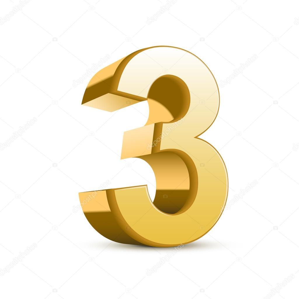 3d shiny golden number 3 on white background — Vector by kchungtw