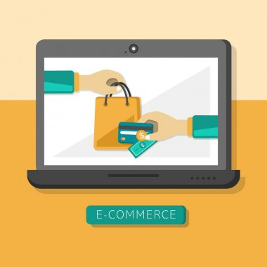 Flat design concept with icons of e-commerce ideas symbol and sh