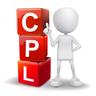 3d illustration of person with word CPL cubes