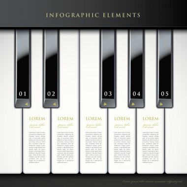 3d piano keys infographic elements