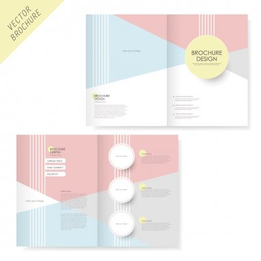 Brochure design with pink and light blue
