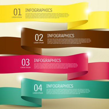 3d ribbon infographic elements