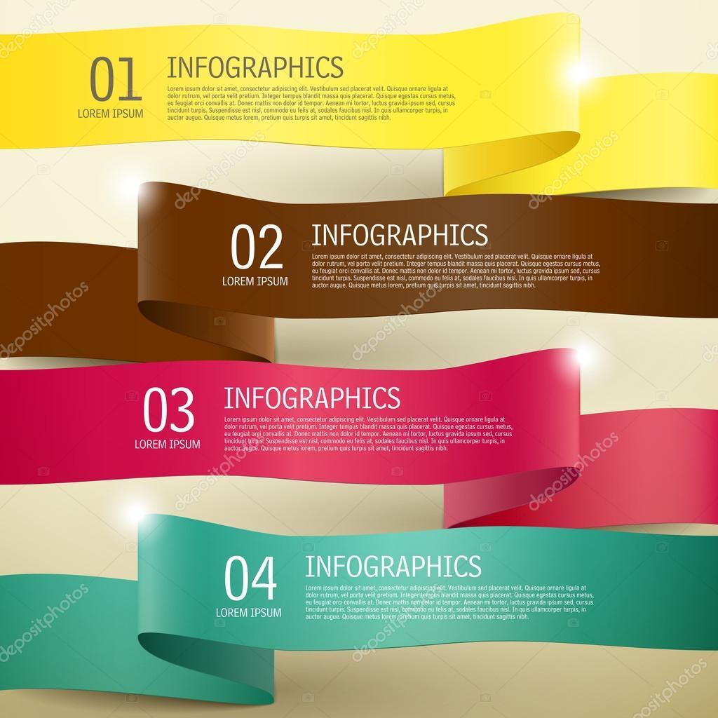 3d ribbon infographic elements