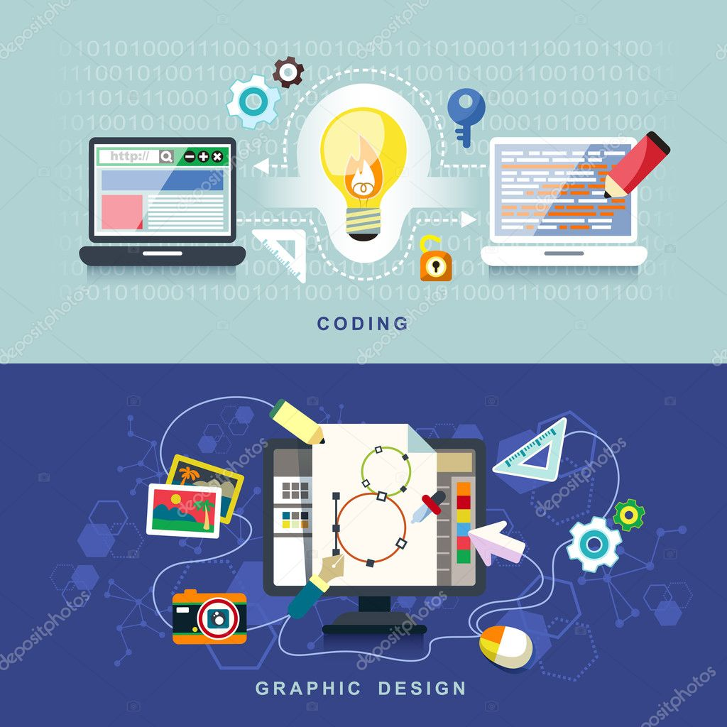 flat design for graphic design and coding