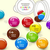 Photo cute 3d vector abstract candy infographic elements