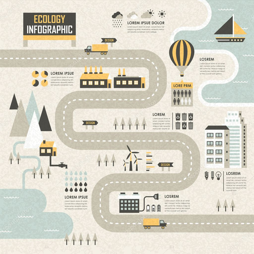 ecology infographic flat illustration design background