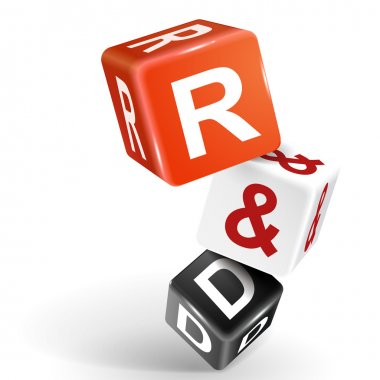 3d dice illustration with word R and D