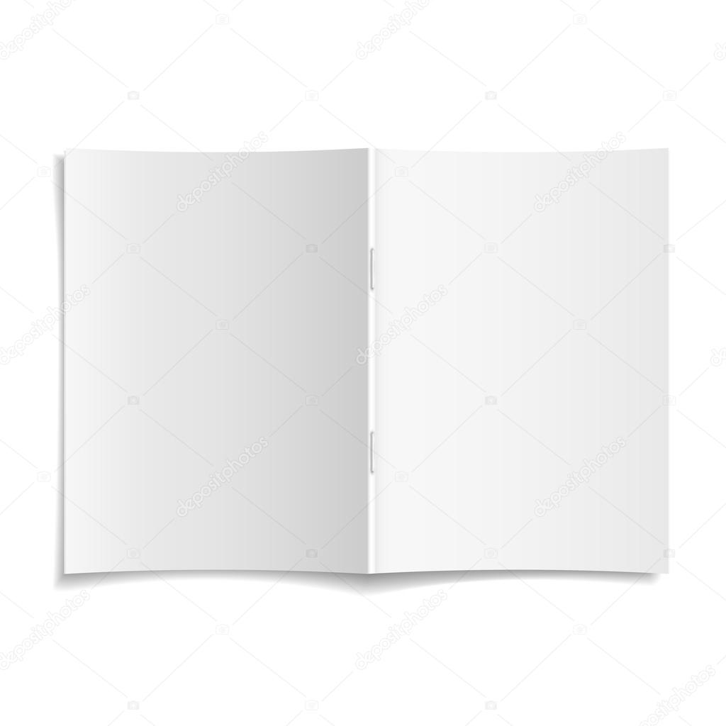 3d vector blank opened magazine cover template
