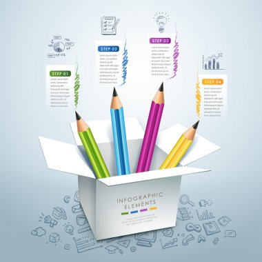 business education pencil Infographics