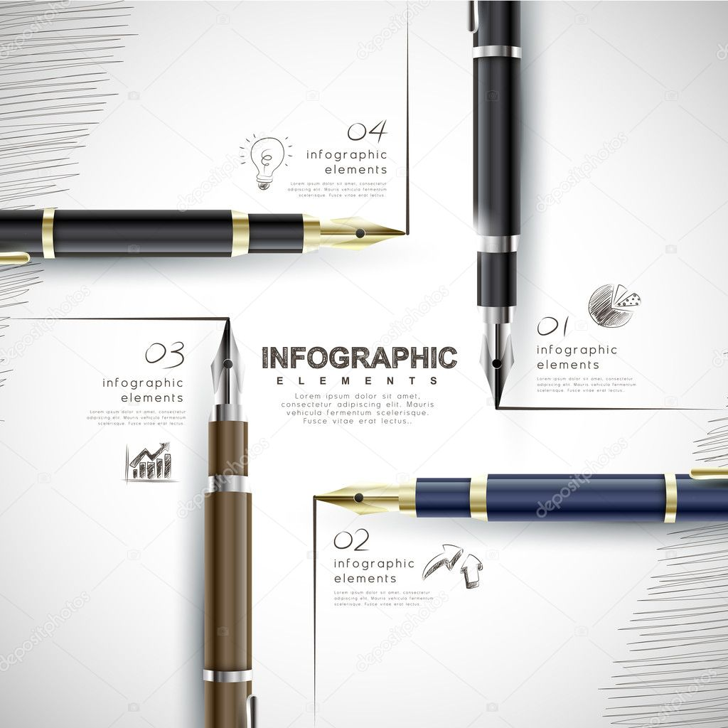 creative template with fountain pen writing informations