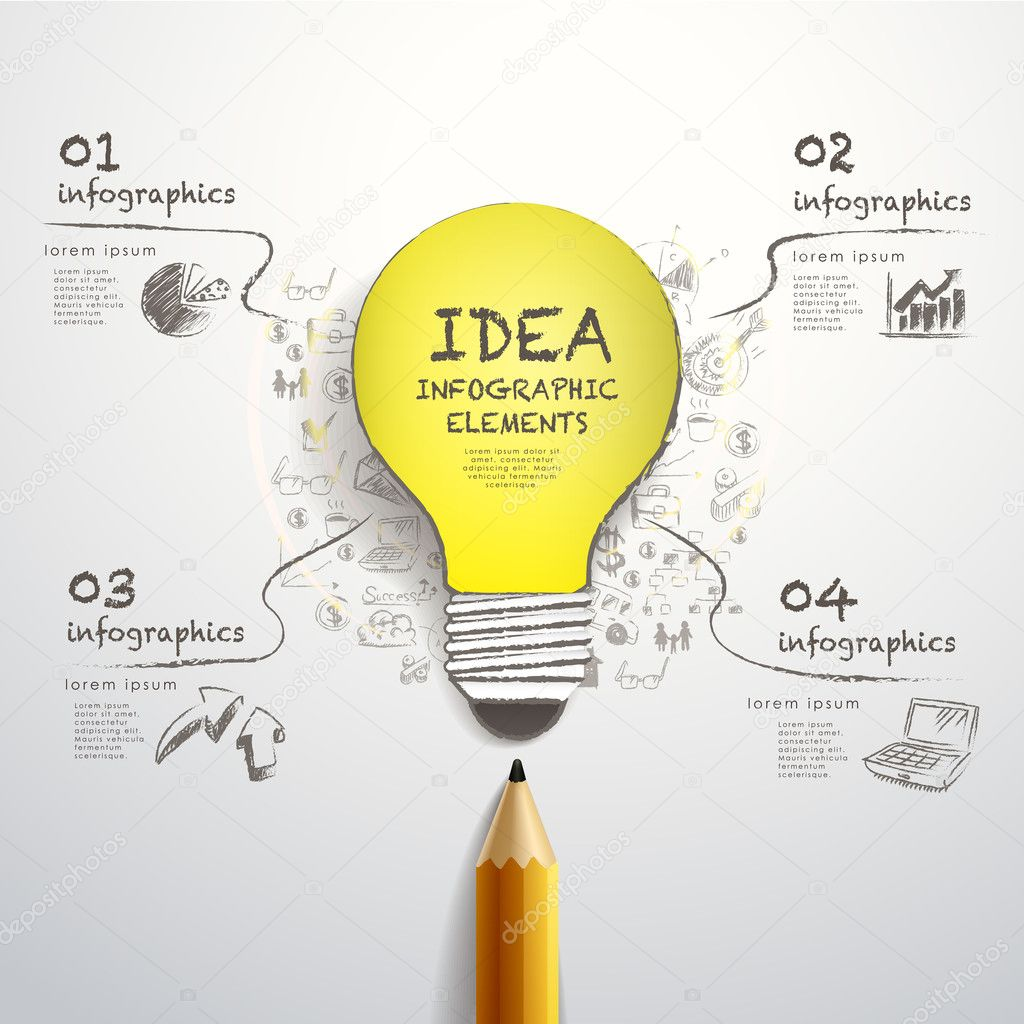 creative pencil and hand-draw paper-cut bulb infographics