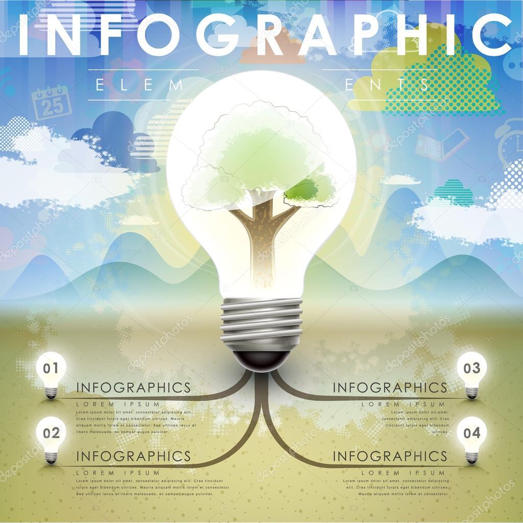 tree and idea bulb infographics