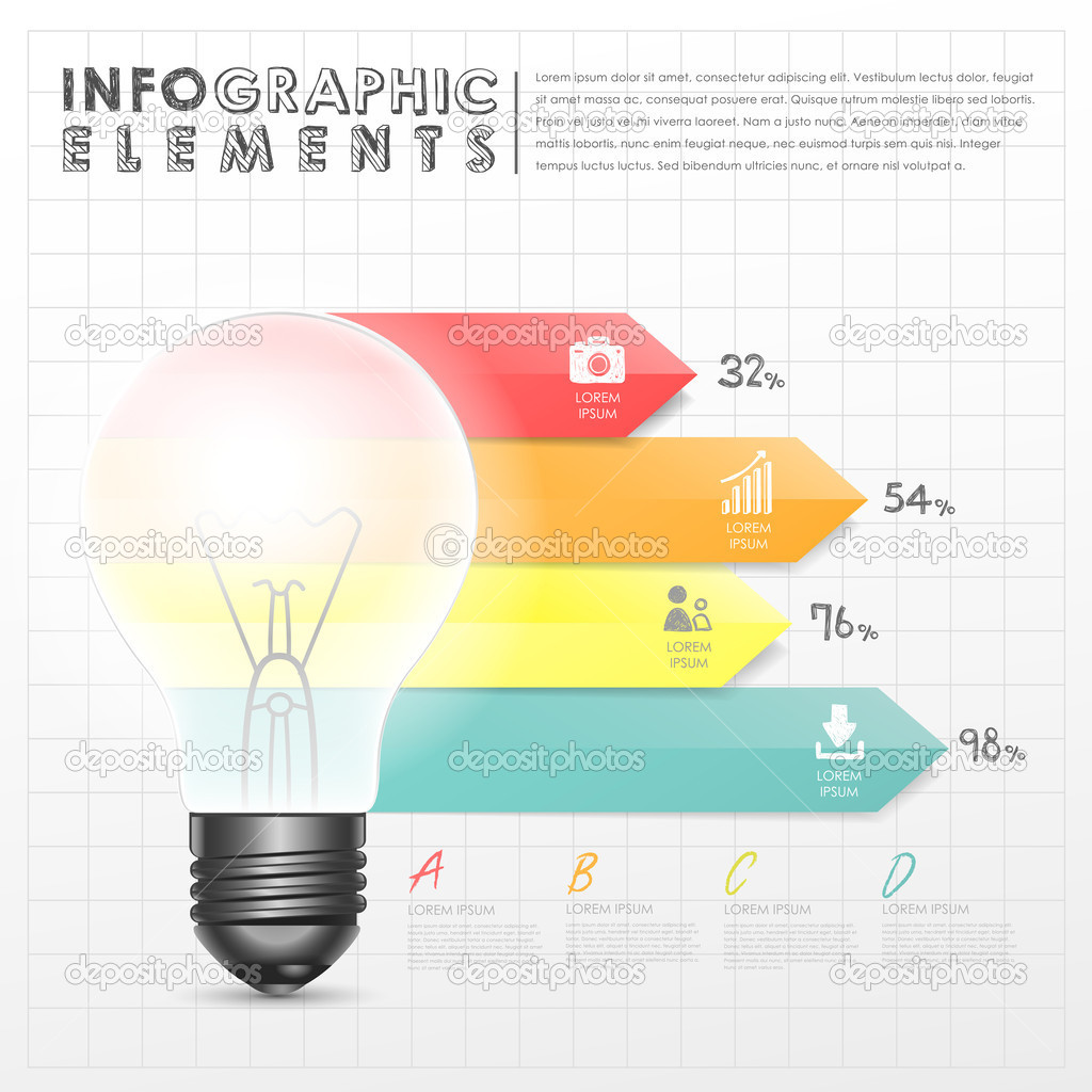 Light Bulb Abstract Bar Chart Infographic Elements Stock Vector Diagram Of The Incandescent How Flourescent
