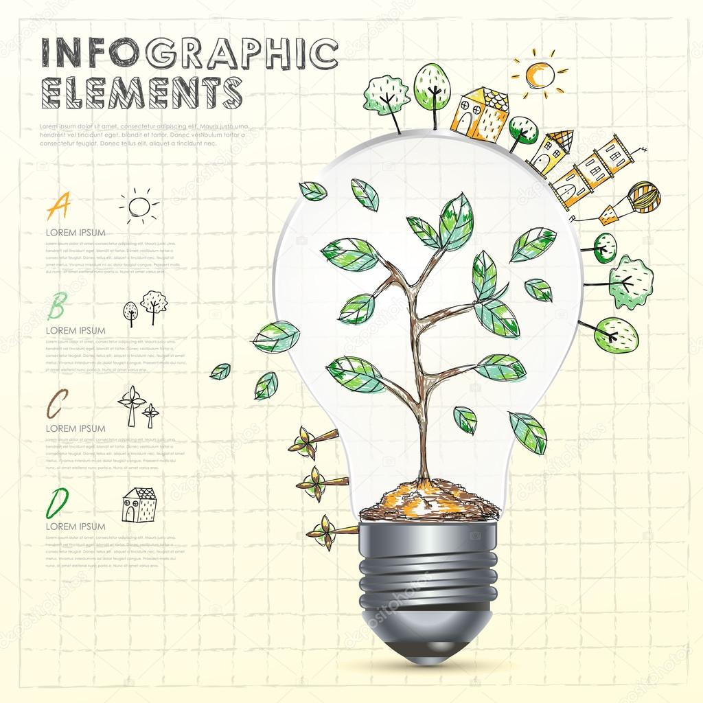 bulb with abstract doodle environmental infographic elements