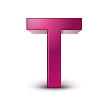 3d alphabet pink T
