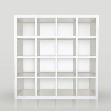 empty shelves, blank bookcase library