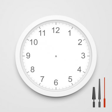 3d vector blank clock face with hour, minute and second hands isolated on white background stock vector