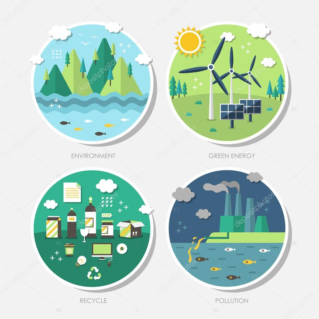 flat design concept icons of ecology