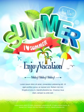 Bright i love summer poster in green and blue tones clip art vector
