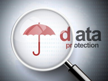 magnifying glass with umbrella icon and data protection word