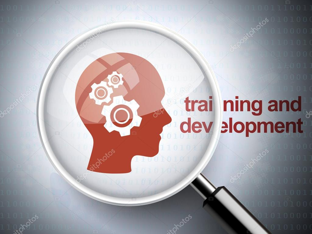 magnifying glass with gears on head icon