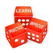Wörter auf drei roten Würfeln lernen, üben und verbessern