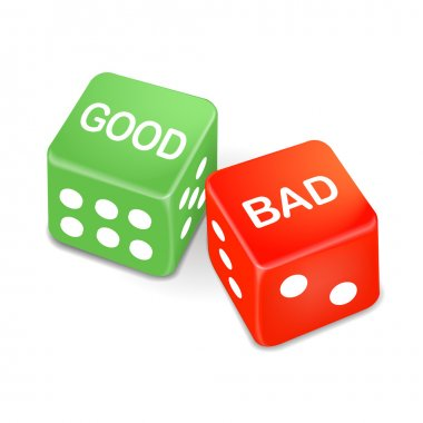 good and bad words on two dice