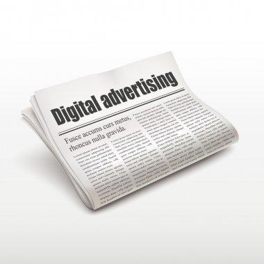 digital advertising words on newspaper