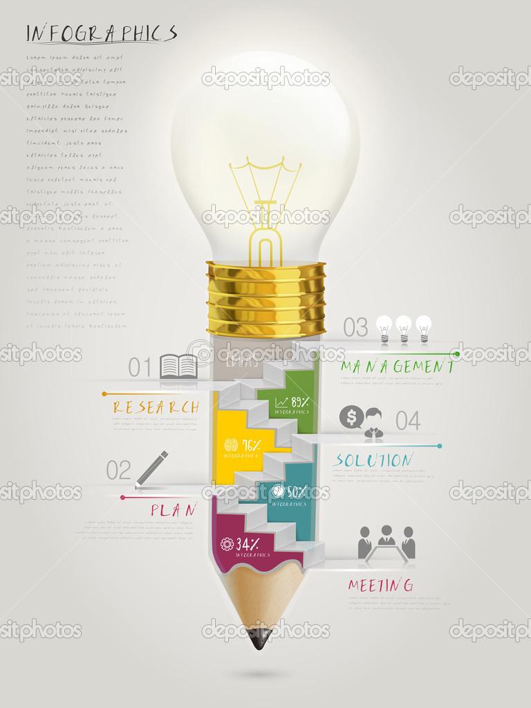 kreative Vorlage Infographik mit Treppe im Inneren der Lampe Stift ...