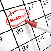 Fotografia pianificare la parola cerchio segnato sul calendario