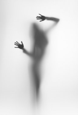 Diffuse silhouette of a beautiful woman, plams