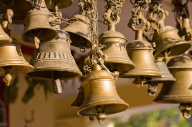 Bells of the old temple in Rudraprayag, India. stock vector