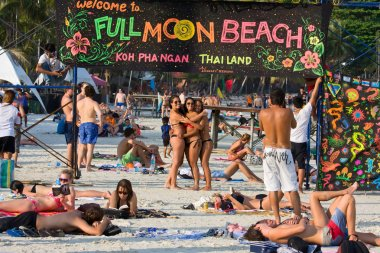 Beach before the full moon party in island Koh Phangan, Thailand