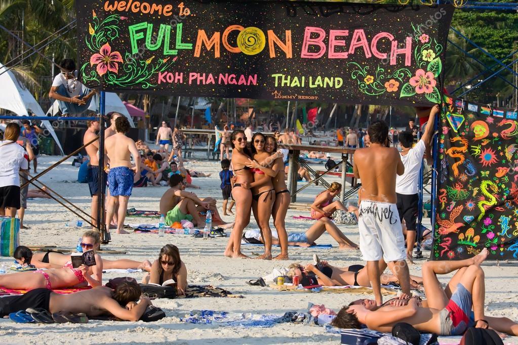 Beach before the full moon party in island Koh Phangan, Thailand