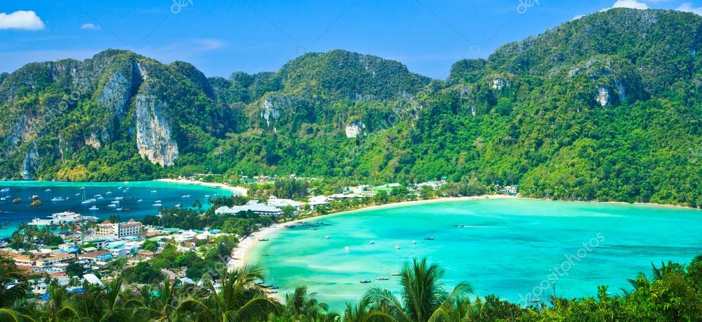 View tropical island with resorts - Phi-Phi island, Krabi Provin thailand