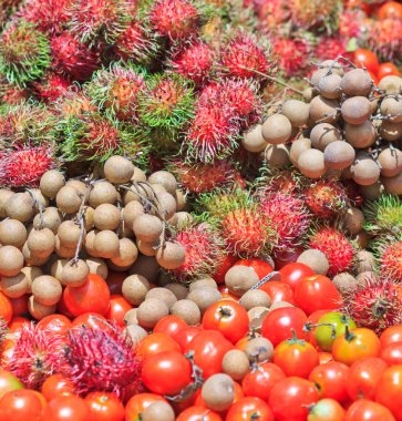 Fruits and tomato and longan vegetables