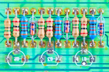 Resistor electronic components mounted on a motherboard