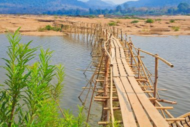Bamboo bridge across the river