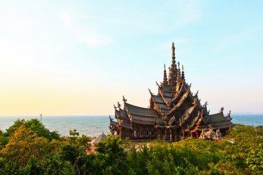 Sanctuary of truth in Chonburi thailand stock vector