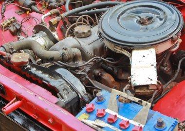 The old car engine closeup stock vector