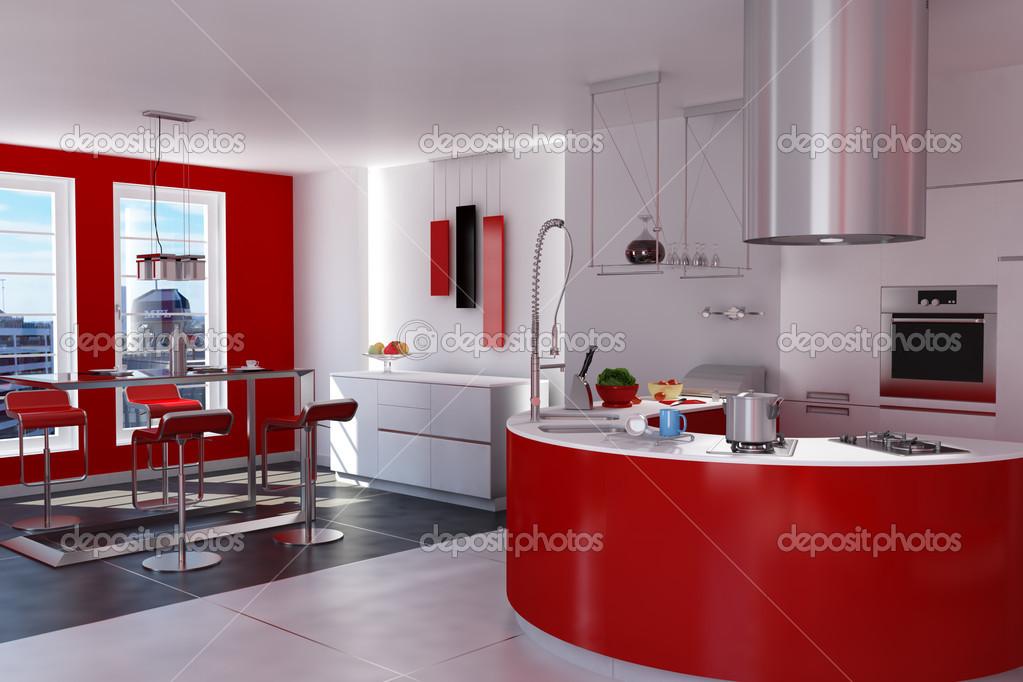 Cucina moderna rossa — Foto Stock © weissdesign #22254389