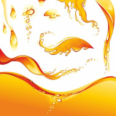 Set of orange water splashes and drops.