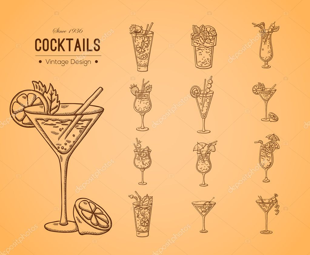 A large set of fresh cocktails.