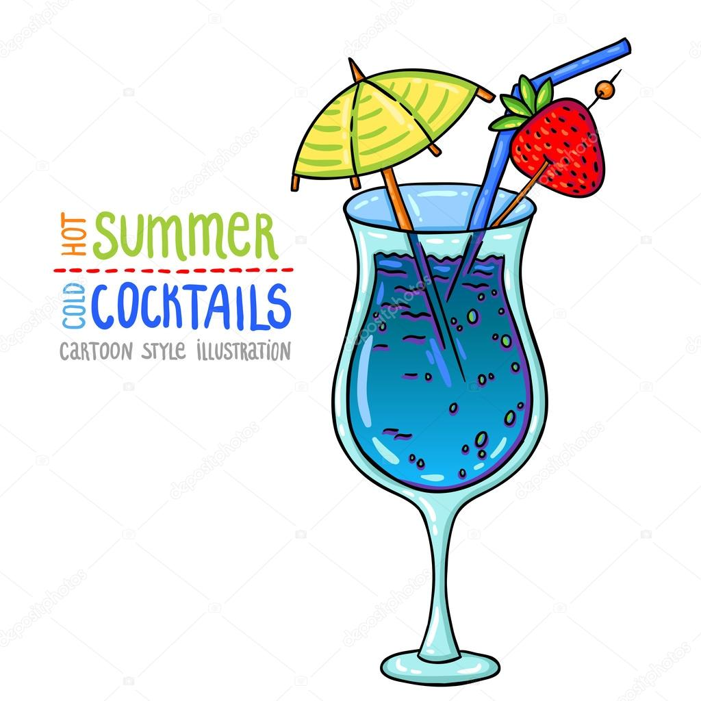 Illustration de style dessin anim de cocktail frais t chaud froids cocktails image - Dessin cocktail ...