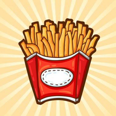 French fries. Fast food in cartoon style. Isolated object, easy to edit.