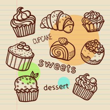 Set of cartoon vector cupcake.