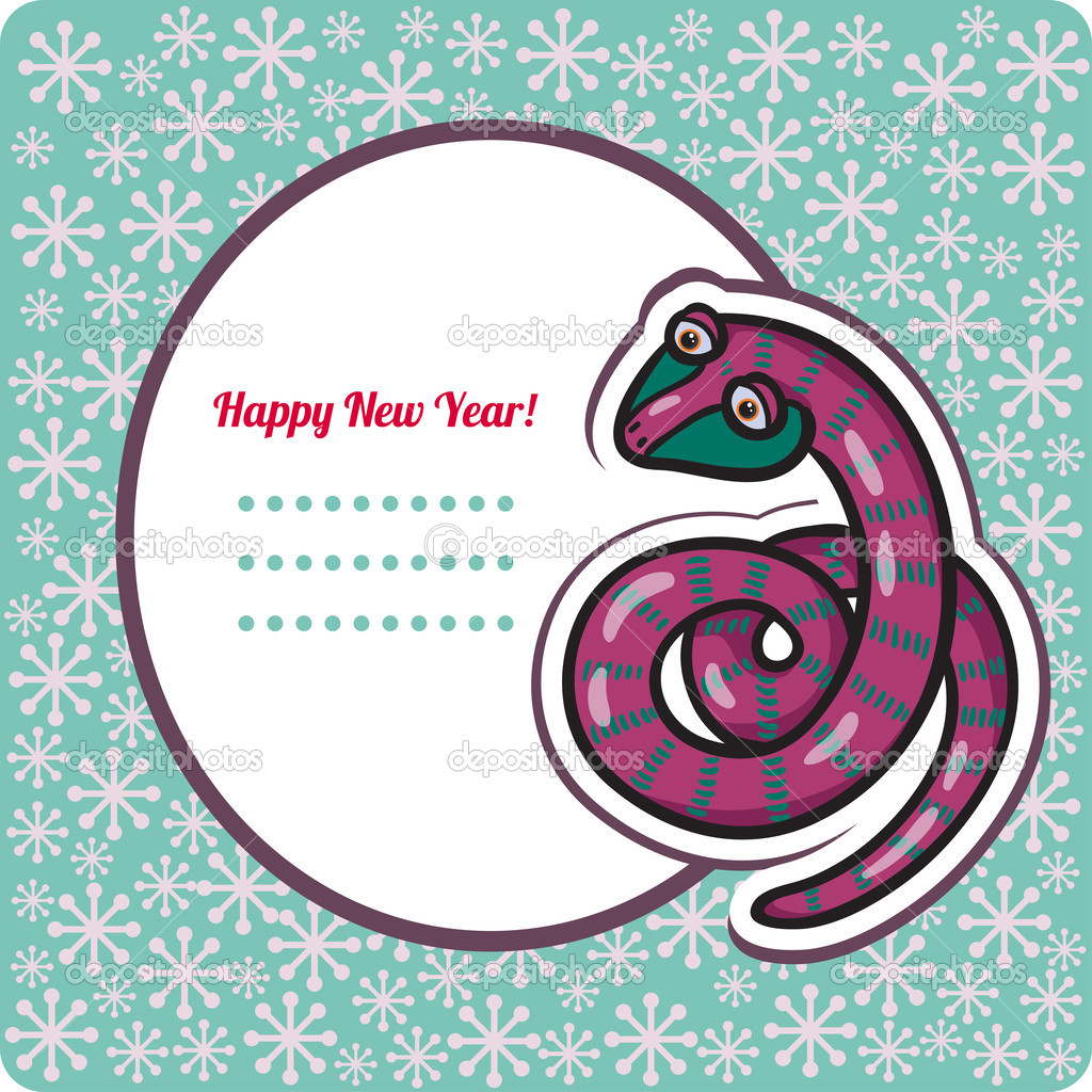 New Year\'s Eve greeting card with snake. — Stock Vector © KateVogel ...