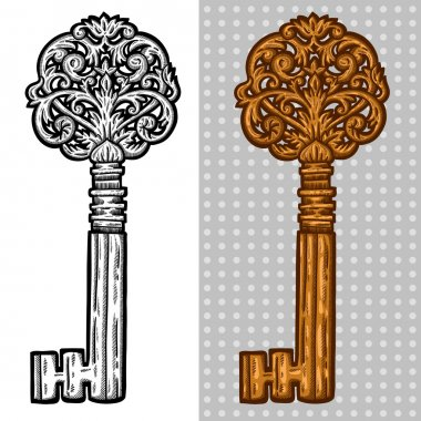 Vintage old key. Engraving retro illustration. Isolated object.