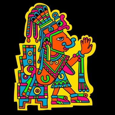 Person. Flyuro image of the Maya. Maya designs. Maya design elements.